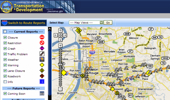 Louisiana Traffic Map.Louisiana Travel Information Map East Baton Rouge Parish Library