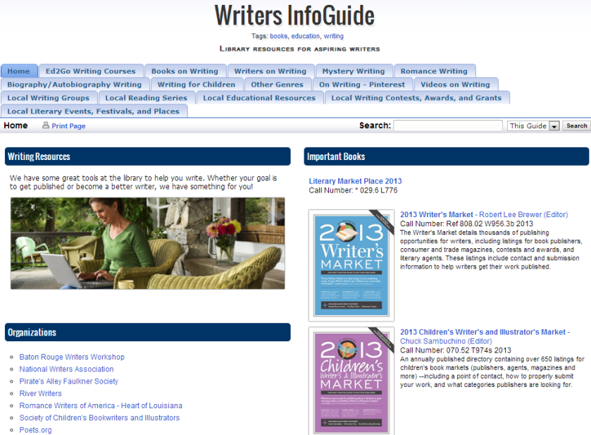 Writers InfoGuide - InfoGuides at East Baton Rouge Parish Library