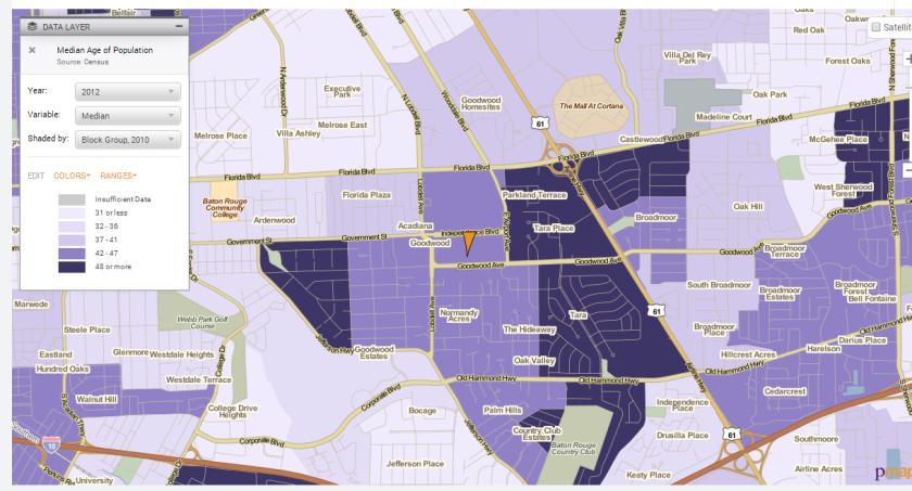 median age of baton rouge midcity screenshot policymap